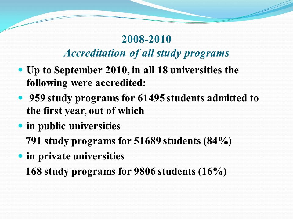 2008-2010 Accreditation of all study programs Up to September 2010, in all 18 universities the following were accredited: 959 study programs for 61495