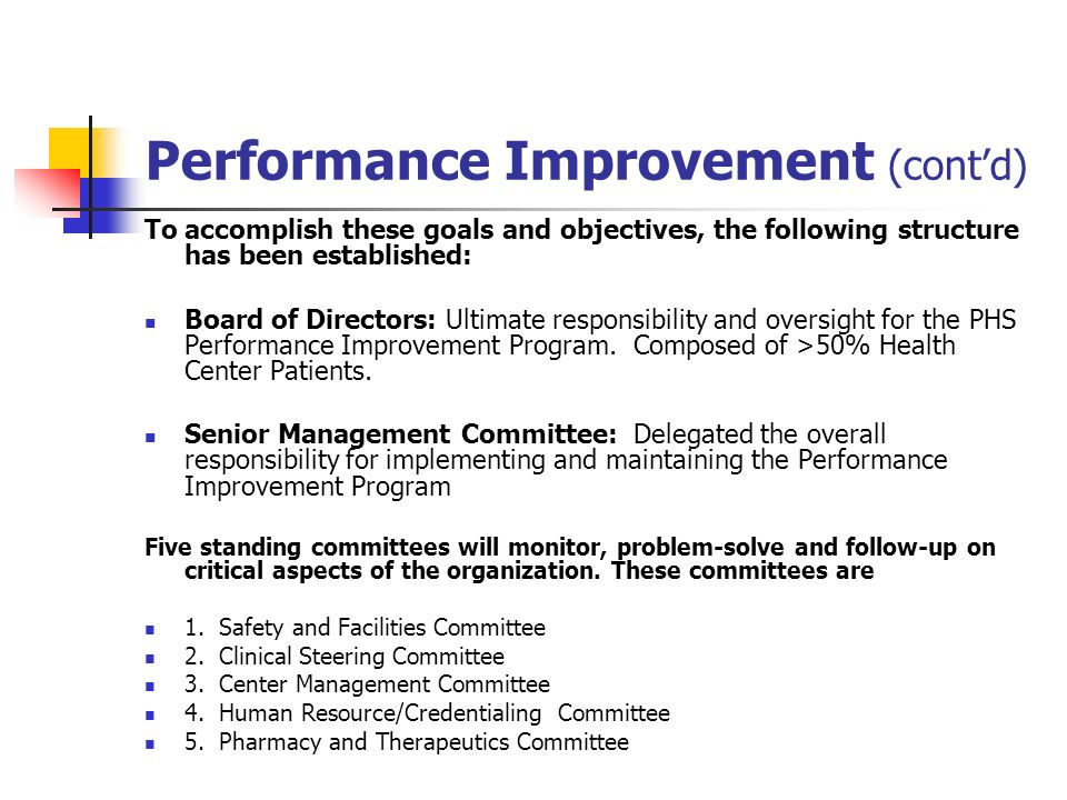 Performance Improvement (contd) To accomplish these goals and objectives, the following structure has been established: Board of Directors: Ultimate r