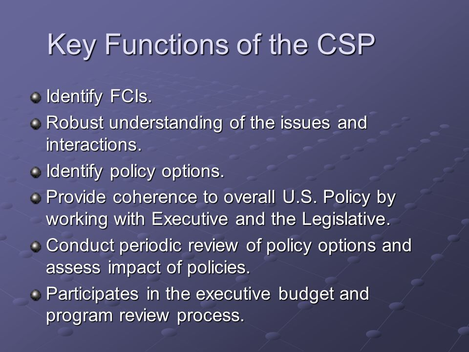 Key Functions of the CSP Identify FCIs. Robust understanding of the issues and interactions. Identify policy options. Provide coherence to overall U.S