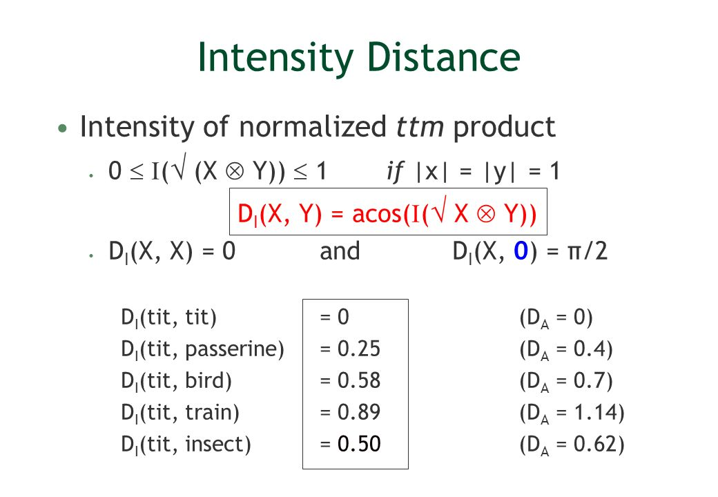 Intensity Distance Intensity of normalized ttm product 0 ( (X Y)) 1 if |x| = |y| = 1 D I (X, Y) = acos( ( X Y)) D I (X, X) = 0and D I (X, 0) = π/2 D I (tit, tit) = 0(D A = 0) D I (tit, passerine) = 0.25(D A = 0.4) D I (tit, bird) = 0.58(D A = 0.7) D I (tit, train) = 0.89 (D A = 1.14) D I (tit, insect) = 0.50(D A = 0.62)