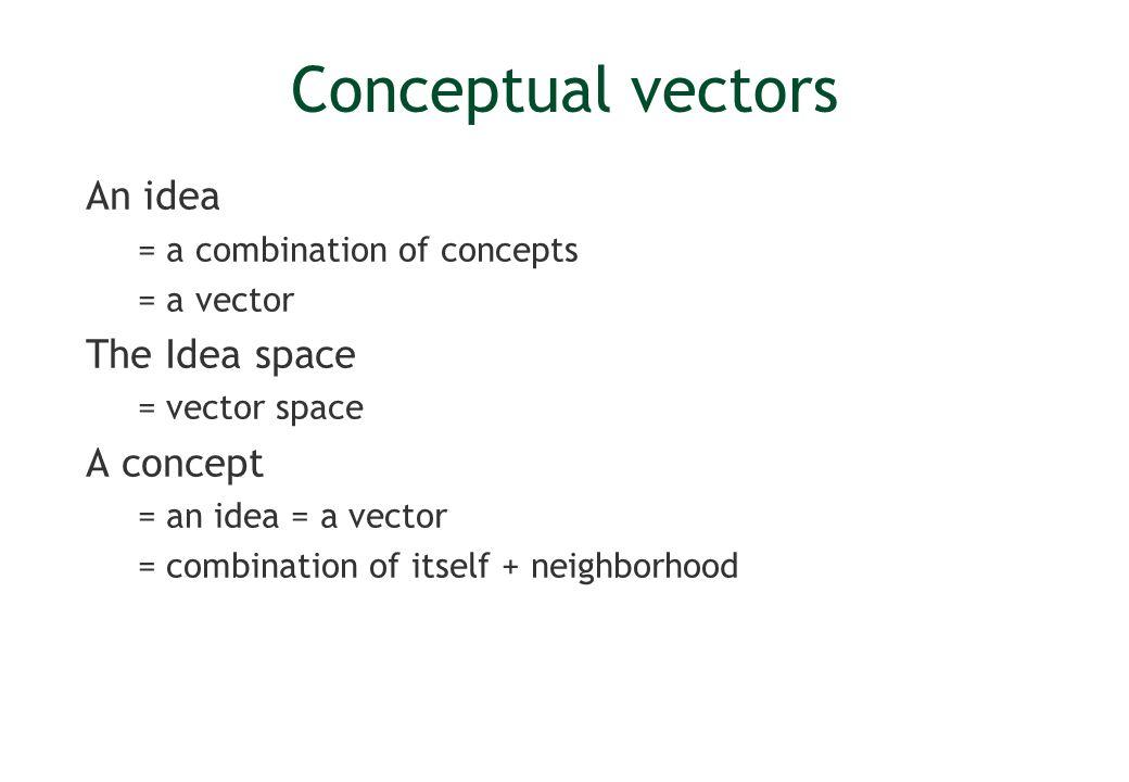 Conceptual vectors Set of k basic concepts Thesaurus Larousse = 873 concepts A vector = a 873 uple Encoding for each dimension C = 2 15 Sense space = vector space + vector set