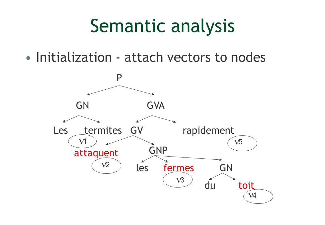 Semantic analysis Initialization - attach vectors to nodes Lesrapidement P GV GVA GNP termites attaquent lesfermes GN dutoit 1 2 3 4 5