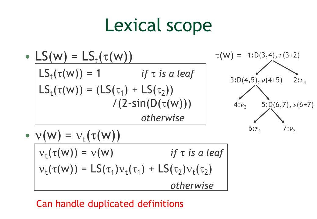 Lexical scope LS(w) = LS t ( (w)) LS t ( (w)) = 1 if is a leaf LS t ( (w)) = (LS( 1 ) + LS( 2 )) /(2-sin(D( (w))) otherwise (w) = t ( (w)) t ( (w)) =