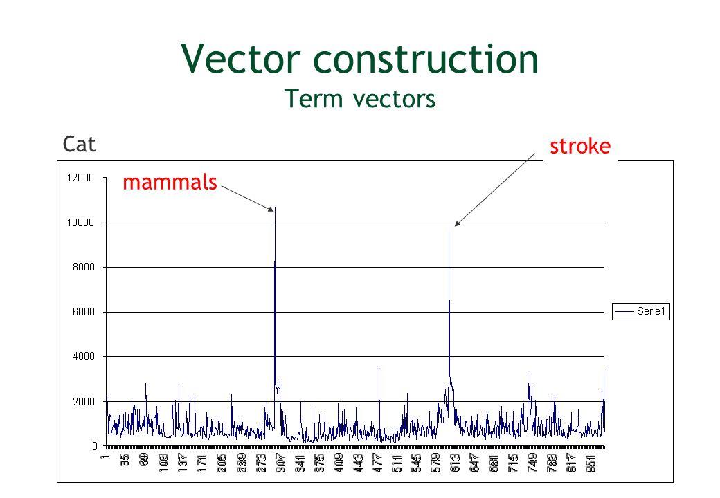 Vector construction Term vectors Cat mammals stroke
