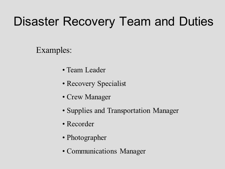 Disaster Recovery Team and Duties Examples: Team Leader Recovery Specialist Crew Manager Supplies and Transportation Manager Recorder Photographer Com