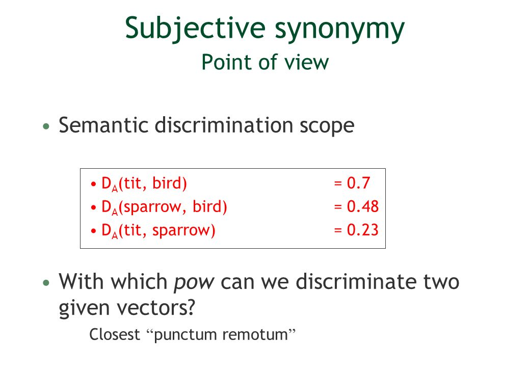 Subjective synonymy Point of view Semantic discrimination scope D A (tit, bird) = 0.7 D A (sparrow, bird)= 0.48 D A (tit, sparrow)= 0.23 With which pow can we discriminate two given vectors.