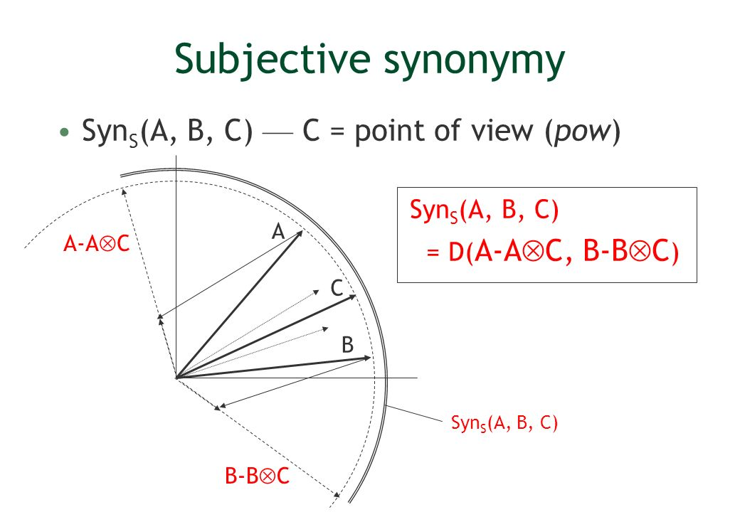 Subjective synonymy Syn S (A, B, C) C = point of view (pow) Syn S (A, B, C) = D( A-A C, B-B C ) B A C A-A C B-B C Syn S (A, B, C)