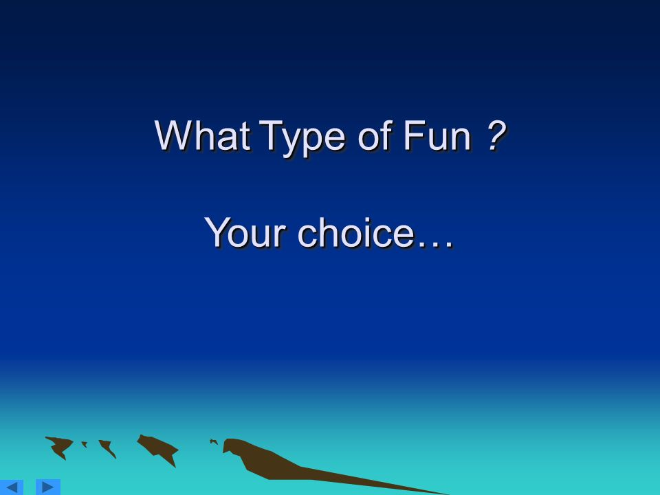 What Type of Fun ? Your choice…