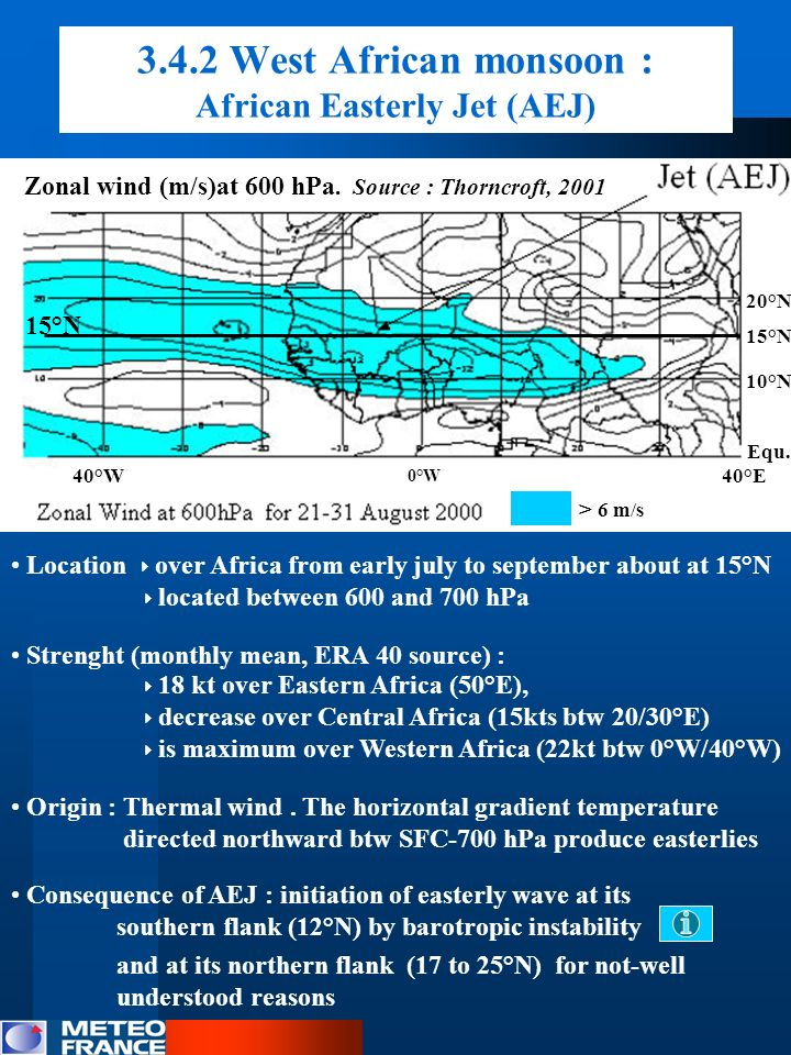 3.4.2 West African monsoon : African Easterly Jet (AEJ) Location over Africa from early july to september about at 15°N located between 600 and 700 hP