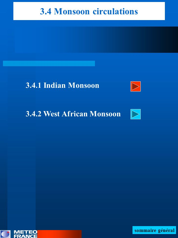 3.4 Monsoon circulations 3.4.1 Indian Monsoon 3.4.2 West African Monsoon sommaire général