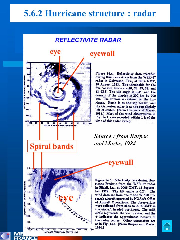 eyewall eye Spiral bands 5.6.2 Hurricane structure : radar Source : from Burpee and Marks, 1984