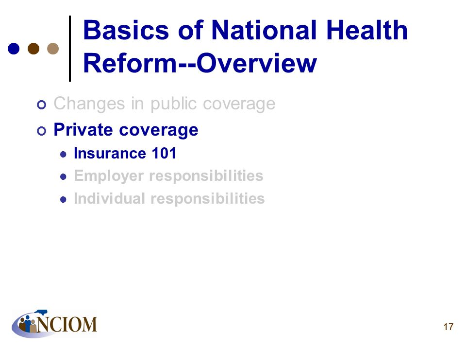 17 Basics of National Health Reform--Overview Changes in public coverage Private coverage Insurance 101 Employer responsibilities Individual responsib