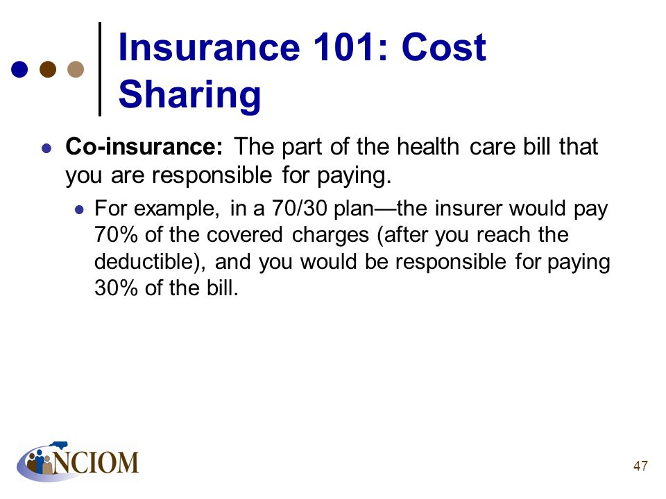 Insurance 101: Cost Sharing Co-insurance: The part of the health care bill that you are responsible for paying. For example, in a 70/30 planthe insure