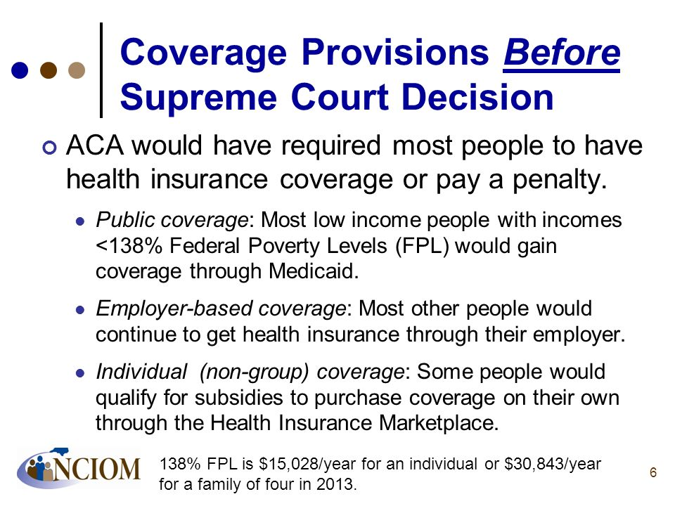 Coverage Provisions Before Supreme Court Decision ACA would have required most people to have health insurance coverage or pay a penalty. Public cover