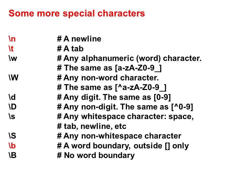 \n# A newline \t# A tab \w# Any alphanumeric (word) character.