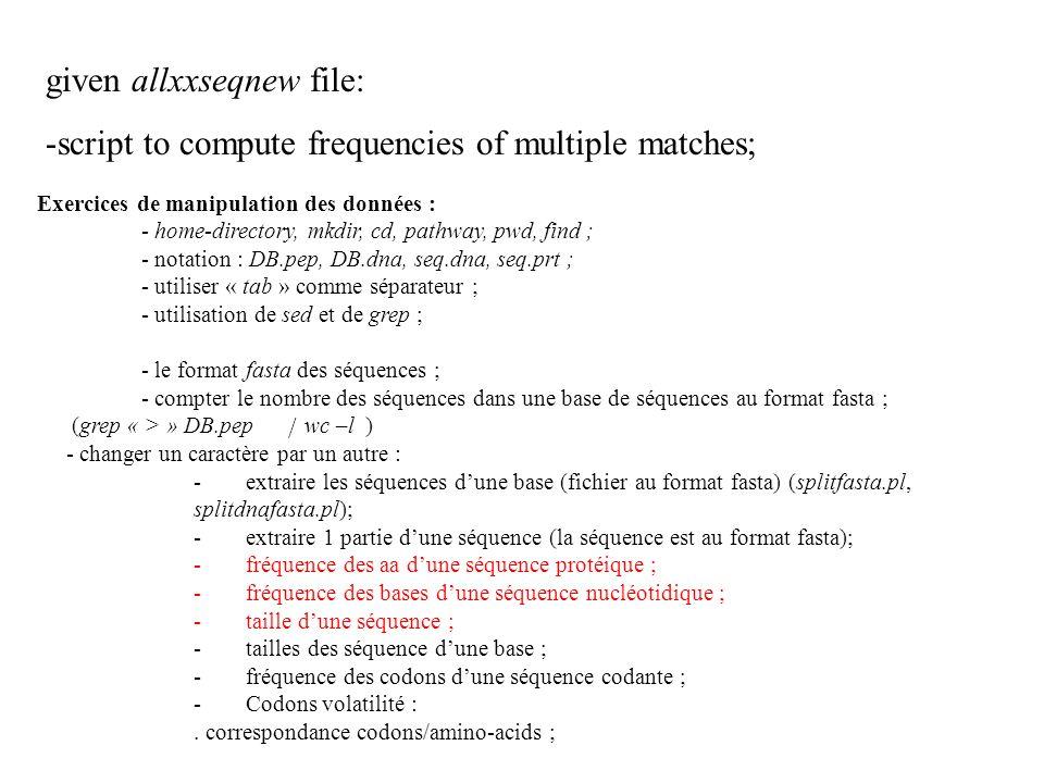 given allxxseqnew file: -script to compute frequencies of multiple matches; Exercices de manipulation des données : - home-directory, mkdir, cd, pathway, pwd, find ; - notation : DB.pep, DB.dna, seq.dna, seq.prt ; - utiliser « tab » comme séparateur ; - utilisation de sed et de grep ; - le format fasta des séquences ; - compter le nombre des séquences dans une base de séquences au format fasta ; (grep « > » DB.pep wc –l ) - changer un caractère par un autre : -extraire les séquences dune base (fichier au format fasta) (splitfasta.pl, splitdnafasta.pl); -extraire 1 partie dune séquence (la séquence est au format fasta); -fréquence des aa dune séquence protéique ; -fréquence des bases dune séquence nucléotidique ; -taille dune séquence ; -tailles des séquence dune base ; -fréquence des codons dune séquence codante ; -Codons volatilité :.