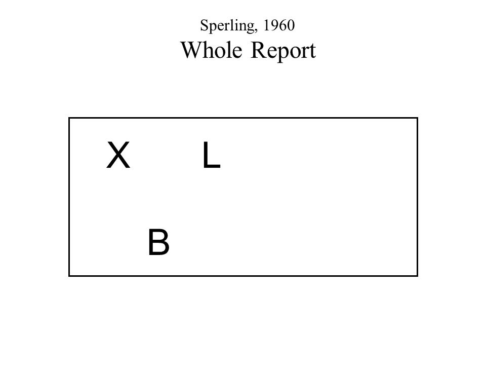 X L B Sperling, 1960 Whole Report