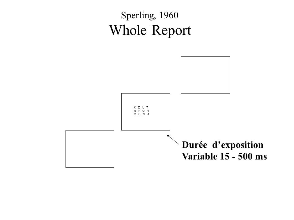 X Z L T R F Q V C B N J Durée dexposition Variable 15 - 500 ms Sperling, 1960 Whole Report