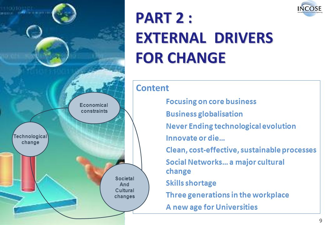 9 PART 2 : EXTERNAL DRIVERS FOR CHANGE Content Focusing on core business Business globalisation Never Ending technological evolution Innovate or die… Clean, cost-effective, sustainable processes Social Networks… a major cultural change Skills shortage Three generations in the workplace A new age for Universities Societal And Cultural changes Economical constraints Technological change