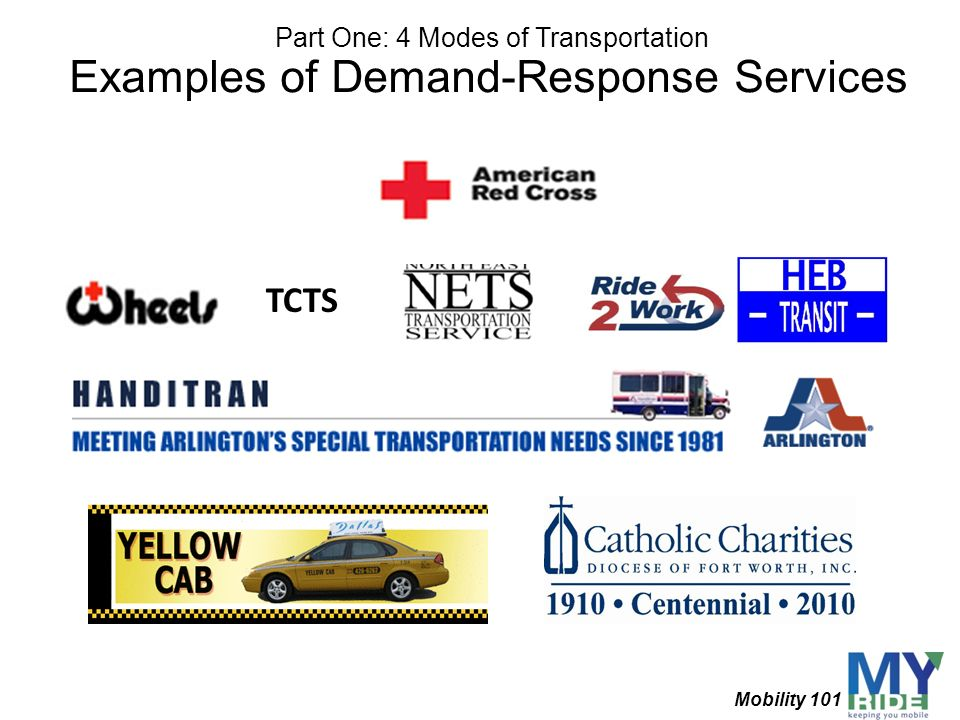 Examples of Demand-Response Services TCTS Part One: 4 Modes of Transportation Mobility 101