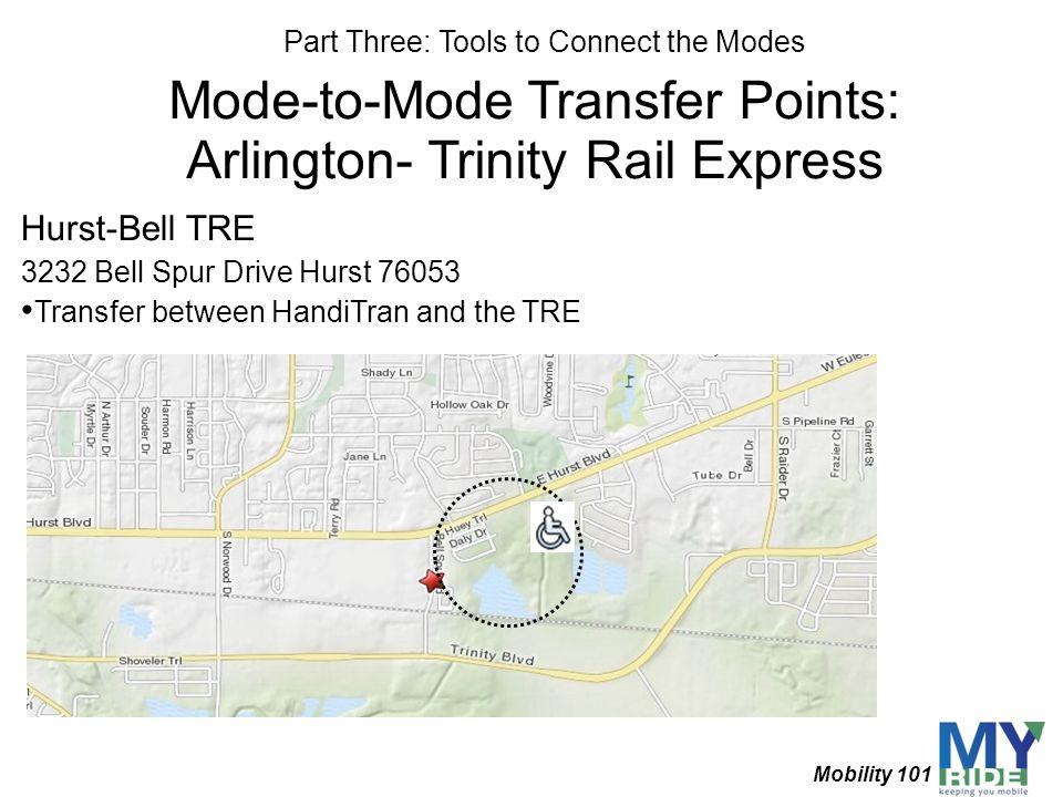 Mode-to-Mode Transfer Points: Arlington- Trinity Rail Express Hurst-Bell TRE 3232 Bell Spur Drive Hurst 76053 Transfer between HandiTran and the TRE M