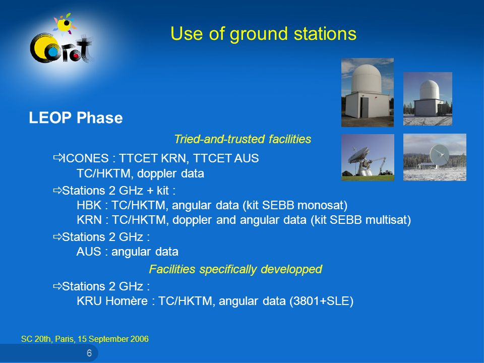 SC 20th, Paris, 15 September 2006 6 LEOP Phase Tried-and-trusted facilities ICONES : TTCET KRN, TTCET AUS TC/HKTM, doppler data Stations 2 GHz + kit : HBK : TC/HKTM, angular data (kit SEBB monosat) KRN : TC/HKTM, doppler and angular data (kit SEBB multisat) Stations 2 GHz : AUS : angular data Facilities specifically developped Stations 2 GHz : KRU Homère : TC/HKTM, angular data (3801+SLE) Use of ground stations