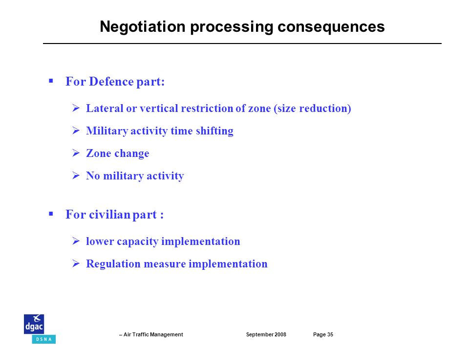 September 2008Page 35 – Air Traffic Management For Defence part: Lateral or vertical restriction of zone (size reduction) Military activity time shifting Zone change No military activity Negotiation processing consequences For civilian part : lower capacity implementation Regulation measure implementation