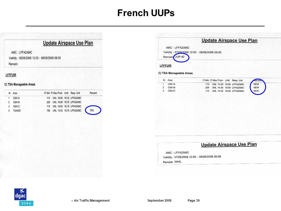 September 2008Page 39 – Air Traffic Management French UUPs