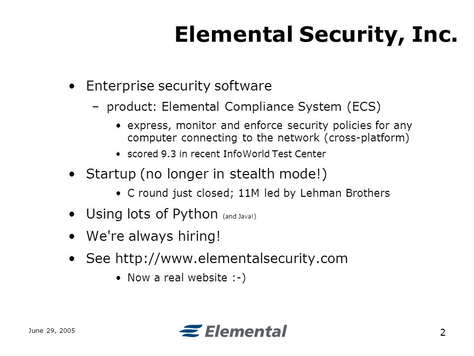 June 29, Elemental Security, Inc.