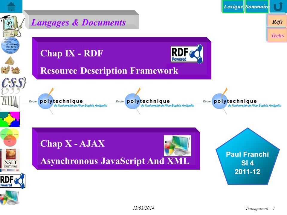 Lexique Langages & Documents Réfs Paul Franchi SI 4 2011-12 Techs Sommaire...... 13/01/2014 Transparent - 1 Chap IX - RDF Resource Description Framewo