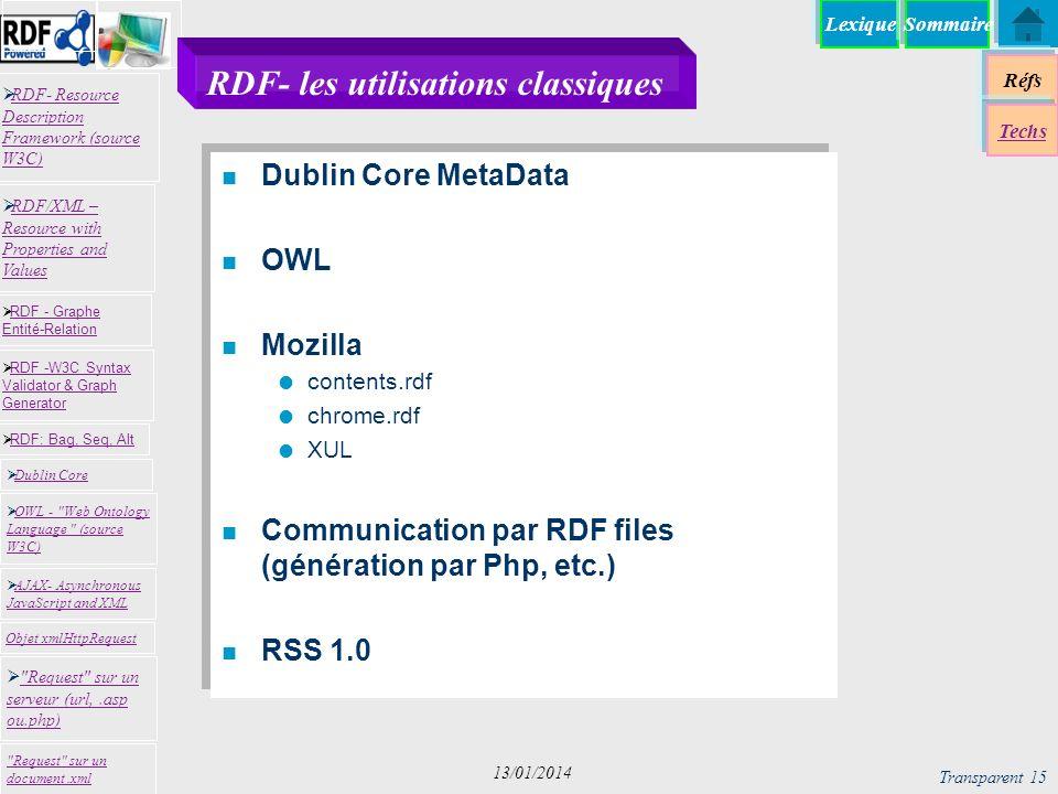 Lexique Réfs Techs RDF- Resource Description Framework (source W3C) RDF- Resource Description Framework (source W3C) Request sur un serveur (url,.asp ou.php) Request sur un serveur (url,.asp ou.php) RDF -W3C Syntax Validator & Graph Generator RDF -W3C Syntax Validator & Graph Generator Dublin Core RDF: Bag, Seq, Alt RDF - Graphe Entité-Relation RDF - Graphe Entité-Relation OWL - Web Ontology Language (source W3C) OWL - Web Ontology Language (source W3C) Request sur un document.xml RDF/XML – Resource with Properties and Values RDF/XML – Resource with Properties and Values AJAX- Asynchronous JavaScript and XML AJAX- Asynchronous JavaScript and XML Objet xmlHttpRequest Sommaire Transparent 15 13/01/2014 RDF- les utilisations classiques n Dublin Core MetaData n OWL n Mozilla contents.rdf chrome.rdf XUL n Communication par RDF files (génération par Php, etc.) n RSS 1.0