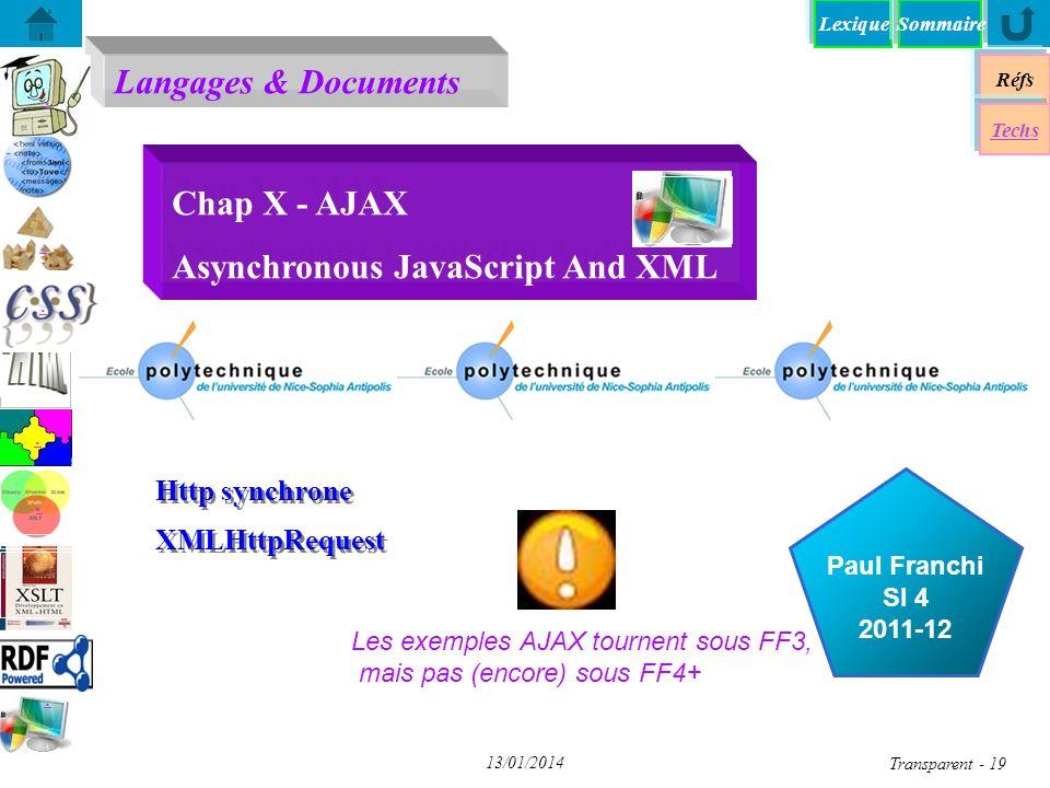 Lexique Langages & Documents Réfs Paul Franchi SI 4 2011-12 Techs Sommaire...... 13/01/2014 Transparent - 19 Chap X - AJAX Asynchronous JavaScript And