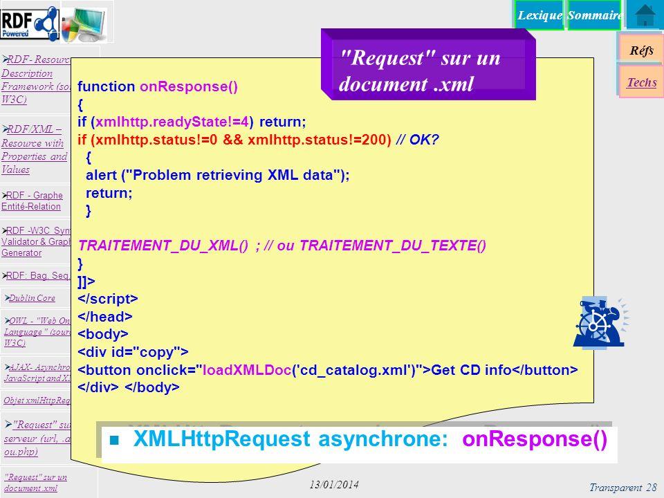Lexique Réfs Techs RDF- Resource Description Framework (source W3C) RDF- Resource Description Framework (source W3C) Request sur un serveur (url,.asp ou.php) Request sur un serveur (url,.asp ou.php) RDF -W3C Syntax Validator & Graph Generator RDF -W3C Syntax Validator & Graph Generator Dublin Core RDF: Bag, Seq, Alt RDF - Graphe Entité-Relation RDF - Graphe Entité-Relation OWL - Web Ontology Language (source W3C) OWL - Web Ontology Language (source W3C) Request sur un document.xml RDF/XML – Resource with Properties and Values RDF/XML – Resource with Properties and Values AJAX- Asynchronous JavaScript and XML AJAX- Asynchronous JavaScript and XML Objet xmlHttpRequest Sommaire Transparent 28 13/01/2014 function onResponse() { if (xmlhttp.readyState!=4) return; if (xmlhttp.status!=0 && xmlhttp.status!=200) // OK.