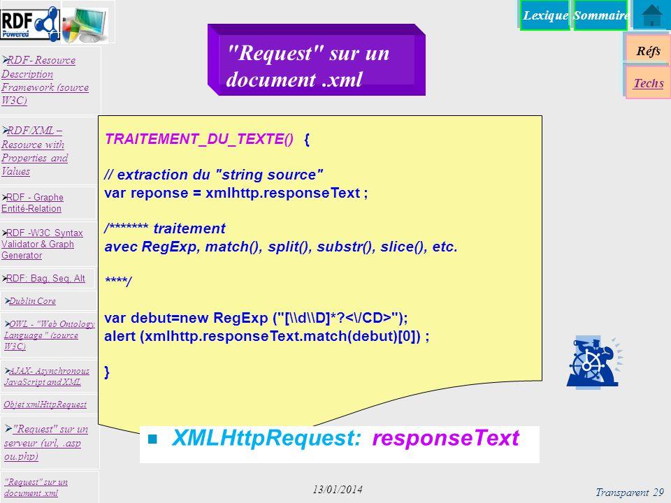 Lexique Réfs Techs RDF- Resource Description Framework (source W3C) RDF- Resource Description Framework (source W3C) Request sur un serveur (url,.asp ou.php) Request sur un serveur (url,.asp ou.php) RDF -W3C Syntax Validator & Graph Generator RDF -W3C Syntax Validator & Graph Generator Dublin Core RDF: Bag, Seq, Alt RDF - Graphe Entité-Relation RDF - Graphe Entité-Relation OWL - Web Ontology Language (source W3C) OWL - Web Ontology Language (source W3C) Request sur un document.xml RDF/XML – Resource with Properties and Values RDF/XML – Resource with Properties and Values AJAX- Asynchronous JavaScript and XML AJAX- Asynchronous JavaScript and XML Objet xmlHttpRequest Sommaire Transparent 29 13/01/2014 TRAITEMENT_DU_TEXTE() { // extraction du string source var reponse = xmlhttp.responseText ; /******* traitement avec RegExp, match(), split(), substr(), slice(), etc.