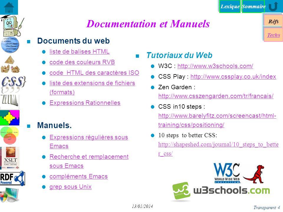 SommaireLexique Réfs Techs...... Transparent 4 13/01/2014 Documentation et Manuels n Documents du web liste de balises HTML code des couleurs RVB code