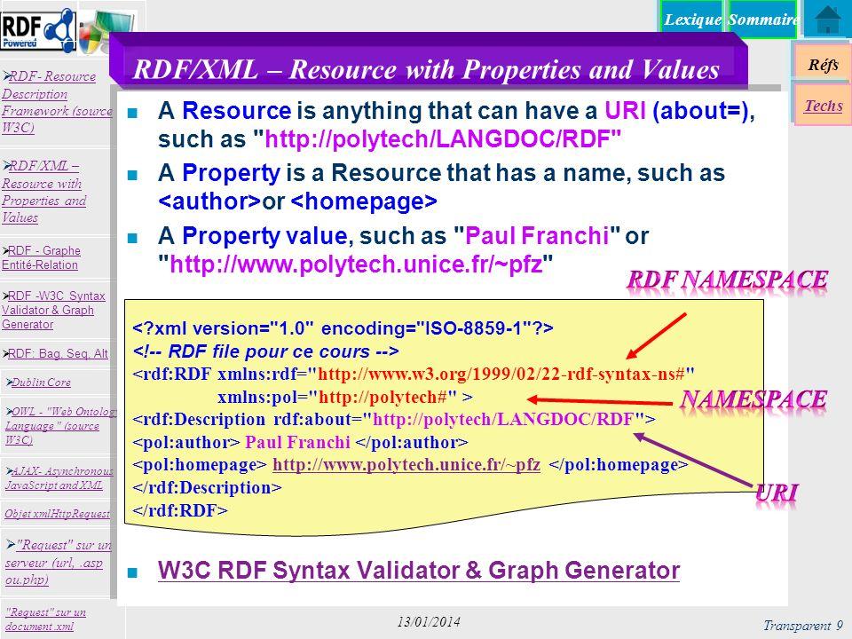 Lexique Réfs Techs RDF- Resource Description Framework (source W3C) RDF- Resource Description Framework (source W3C) Request sur un serveur (url,.asp ou.php) Request sur un serveur (url,.asp ou.php) RDF -W3C Syntax Validator & Graph Generator RDF -W3C Syntax Validator & Graph Generator Dublin Core RDF: Bag, Seq, Alt RDF - Graphe Entité-Relation RDF - Graphe Entité-Relation OWL - Web Ontology Language (source W3C) OWL - Web Ontology Language (source W3C) Request sur un document.xml RDF/XML – Resource with Properties and Values RDF/XML – Resource with Properties and Values AJAX- Asynchronous JavaScript and XML AJAX- Asynchronous JavaScript and XML Objet xmlHttpRequest Sommaire Transparent 9 13/01/2014 RDF/XML – Resource with Properties and Values n A Resource is anything that can have a URI (about=), such as http://polytech/LANGDOC/RDF n A Property is a Resource that has a name, such as or n A Property value, such as Paul Franchi or http://www.polytech.unice.fr/~pfz n W3C RDF Syntax Validator & Graph Generator W3C RDF Syntax Validator & Graph Generator <rdf:RDF xmlns:rdf= http://www.w3.org/1999/02/22-rdf-syntax-ns# xmlns:pol= http://polytech# > Paul Franchi http://www.polytech.unice.fr/~pfz