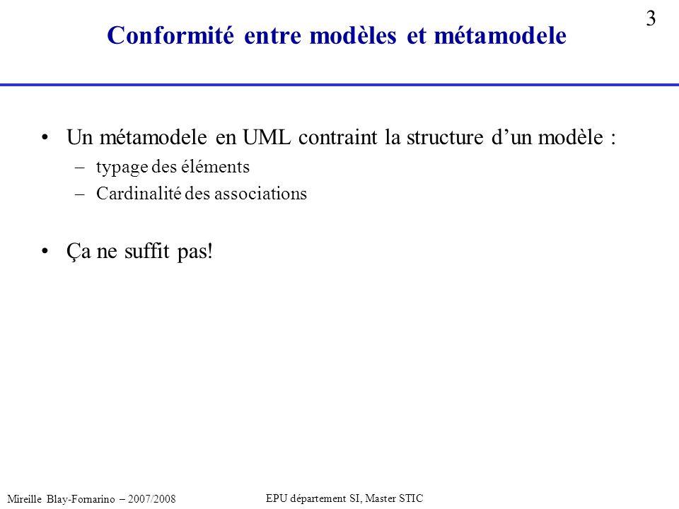 3 Mireille Blay-Fornarino – 2007/2008 EPU département SI, Master STIC Conformité entre modèles et métamodele Un métamodele en UML contraint la structu