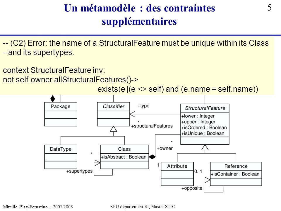 5 Mireille Blay-Fornarino – 2007/2008 EPU département SI, Master STIC Un métamodèle : des contraintes supplémentaires -- (C2) Error: the name of a Str