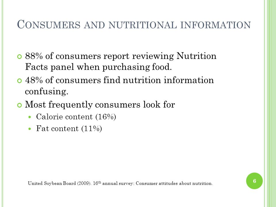 C ONSUMERS AND NUTRITIONAL INFORMATION 88% of consumers report reviewing Nutrition Facts panel when purchasing food. 48% of consumers find nutrition i