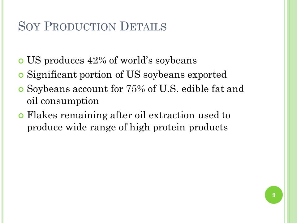 S OY P RODUCTION D ETAILS US produces 42% of worlds soybeans Significant portion of US soybeans exported Soybeans account for 75% of U.S. edible fat a