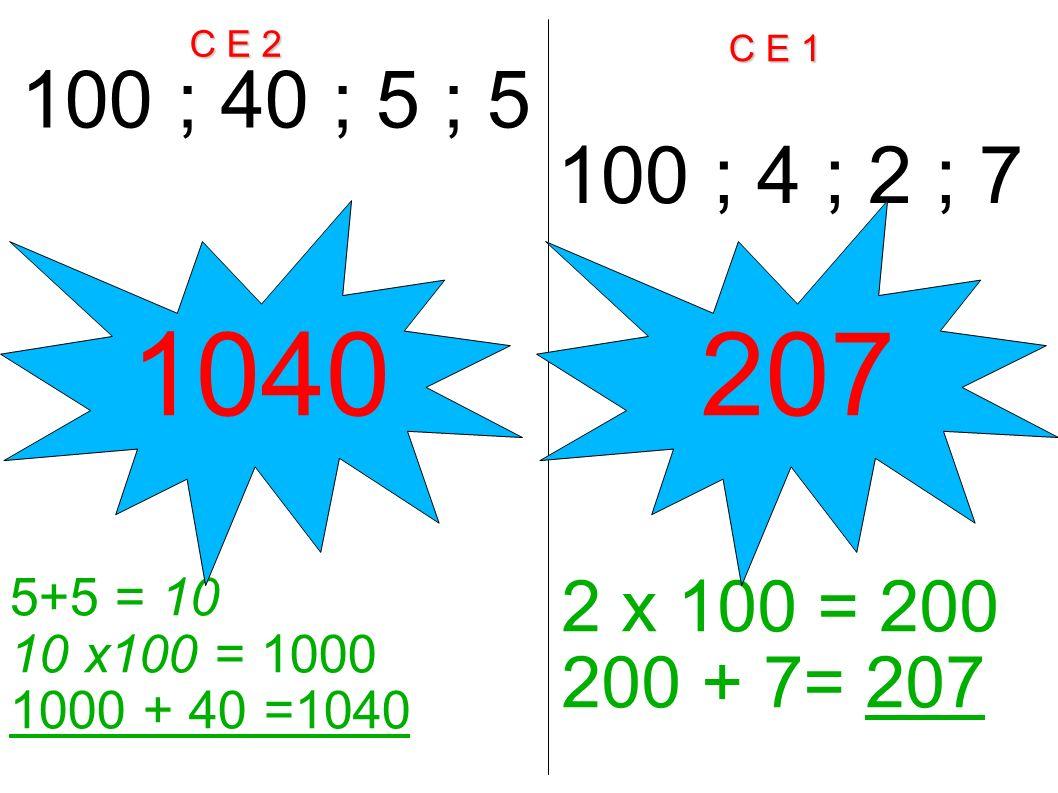 C E 2 C E 1 100 ; 40 ; 5 ; 5 100 ; 4 ; 2 ; 7 5+5 = 10 10 x100 = 1000 1000 + 40 =1040 2 x 100 = 200 200 + 7= 207 1040207