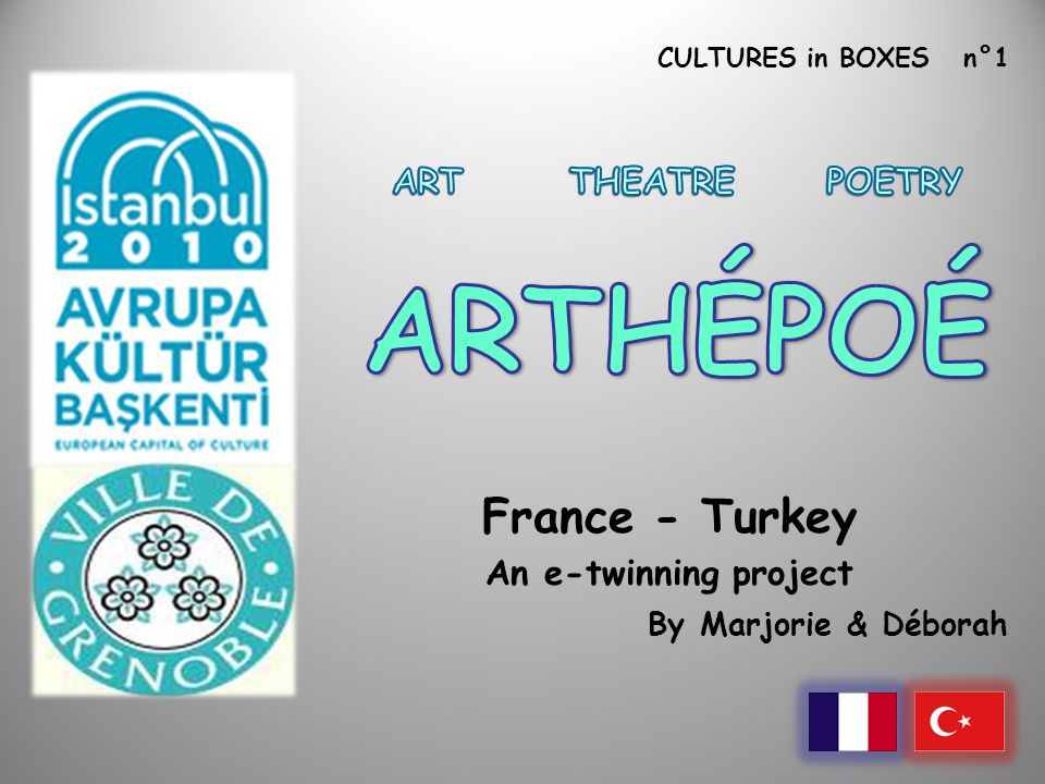 CULTURES in BOXES n°1 France - Turkey An e-twinning project By Marjorie & Déborah