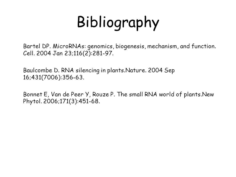 Bibliography Bartel DP. MicroRNAs: genomics, biogenesis, mechanism, and function. Cell. 2004 Jan 23;116(2):281-97. Baulcombe D. RNA silencing in plant