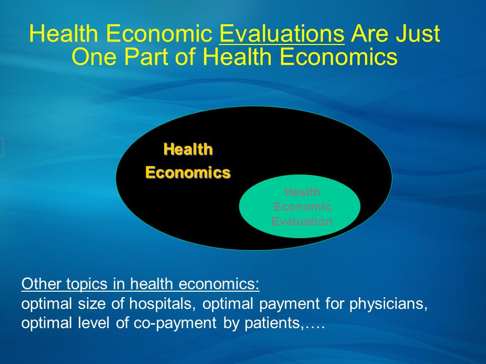 Health Economic Evaluations Are Just One Part of Health Economics HealthEconomics Health Economic Evaluation Other topics in health economics: optimal