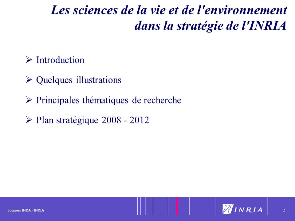 Journées INRA - INRIA2 Les sciences de la vie et de l'environnement dans la stratégie de l'INRIA Introduction Quelques illustrations Principales théma
