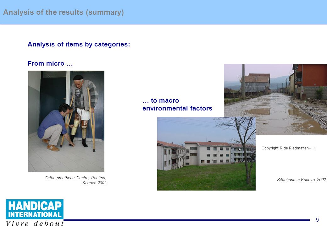 9 Situation of people with disability in Kosovo 2002 – Report summaryAnalysis of the results (summary) Analysis of items by categories: From micro … … to macro environmental factors Ortho-prosthetic Centre, Pristina, Kosovo 2002 © R.