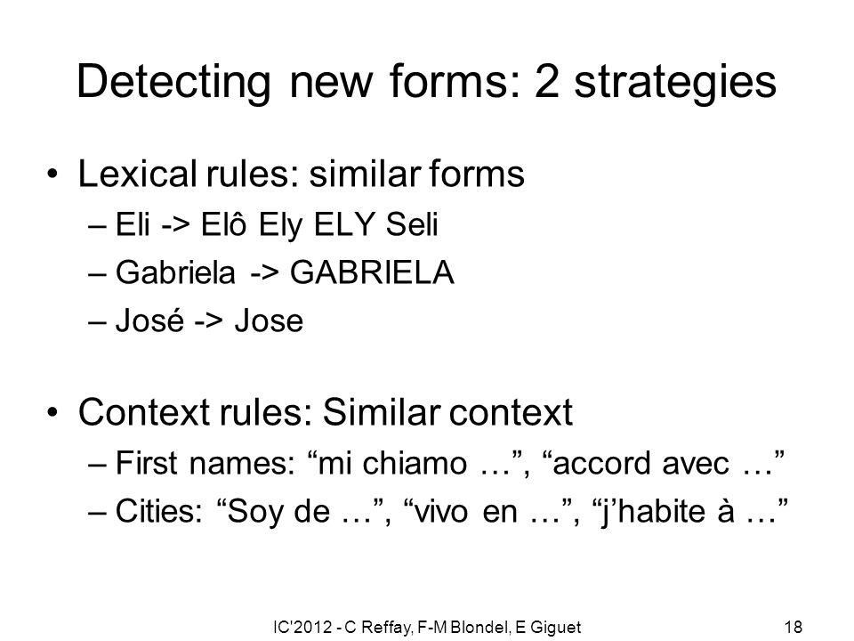 IC'2012 - C Reffay, F-M Blondel, E Giguet18 Detecting new forms: 2 strategies Lexical rules: similar forms –Eli -> Elô Ely ELY Seli –Gabriela -> GABRI