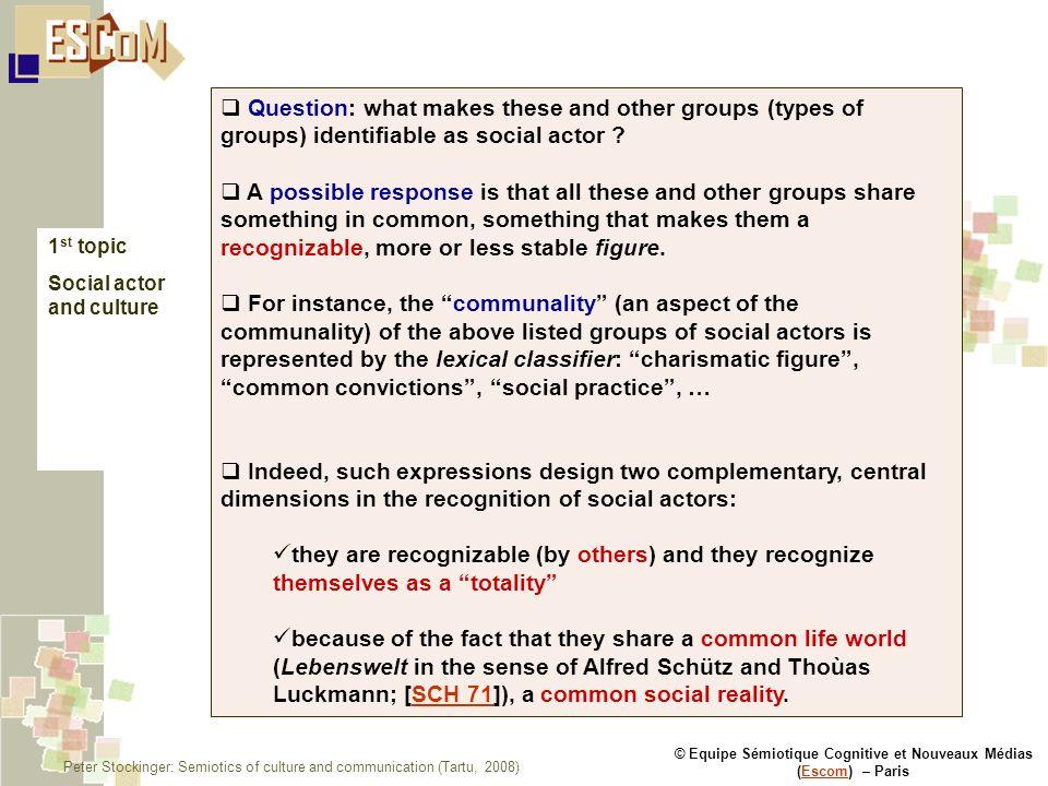 © Equipe Sémiotique Cognitive et Nouveaux Médias (Escom) – ParisEscom 1 st topic Social actor and culture Question: what makes these and other groups