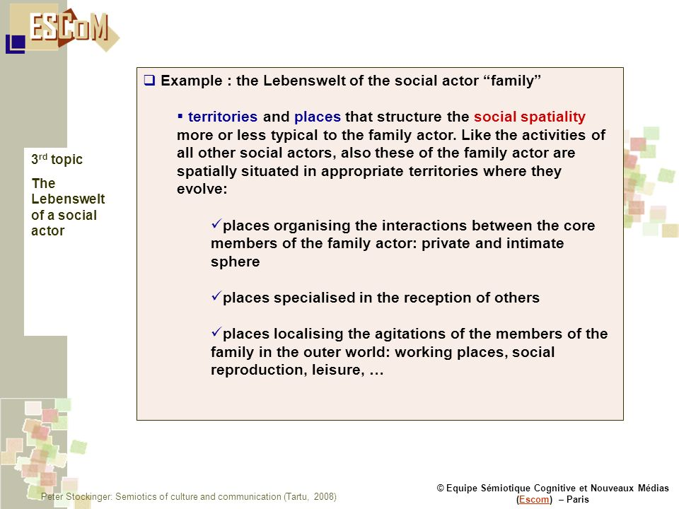 © Equipe Sémiotique Cognitive et Nouveaux Médias (Escom) – ParisEscom Example : the Lebenswelt of the social actor family territories and places that structure the social spatiality more or less typical to the family actor.