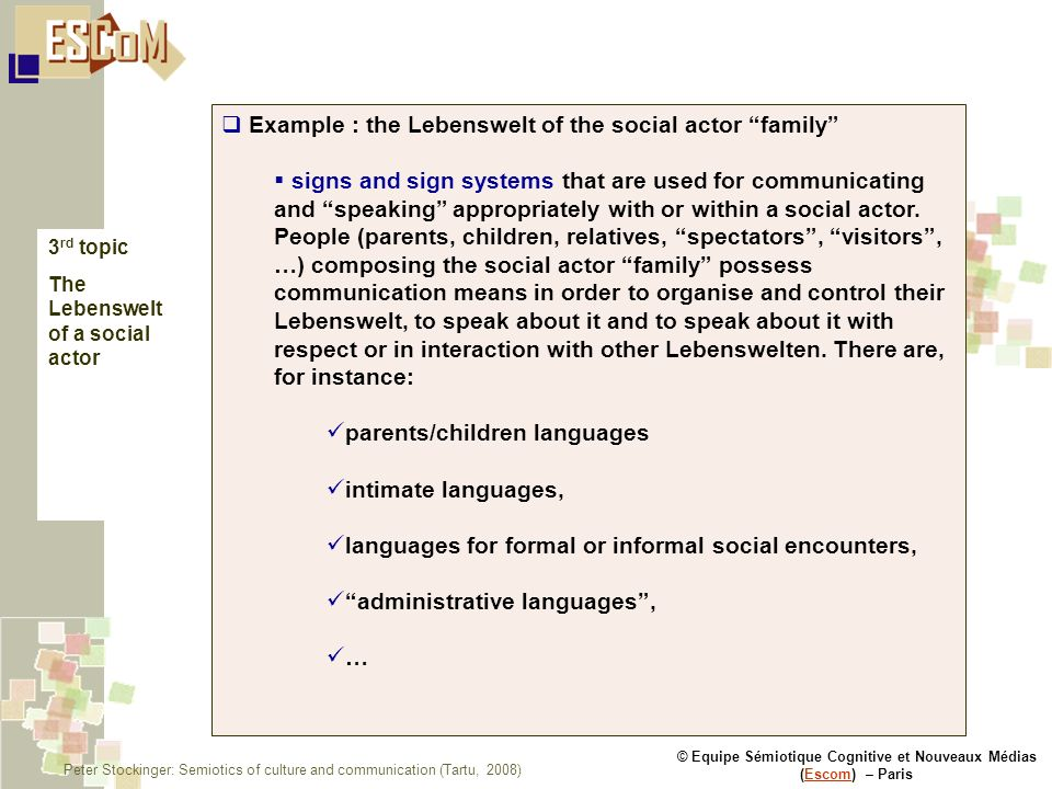 © Equipe Sémiotique Cognitive et Nouveaux Médias (Escom) – ParisEscom Example : the Lebenswelt of the social actor family signs and sign systems that are used for communicating and speaking appropriately with or within a social actor.